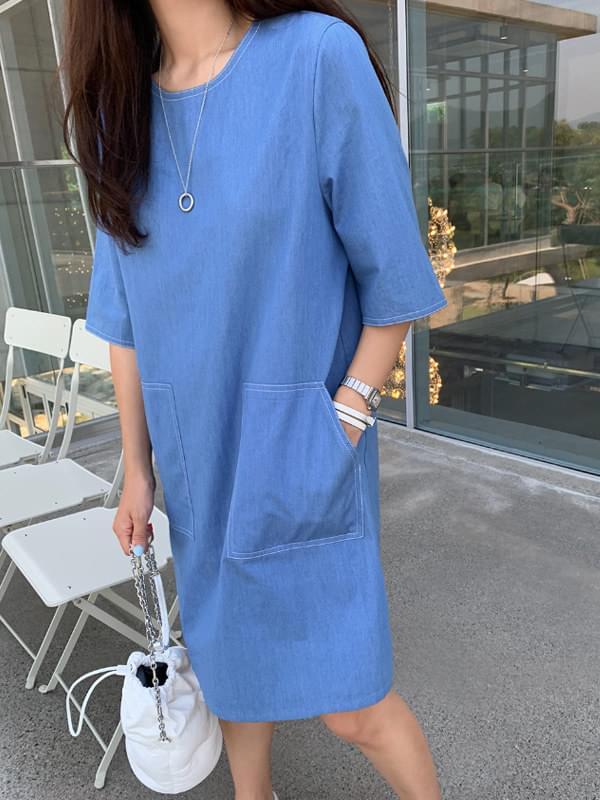 MMMM/ Hedge Denim Stitch Dress