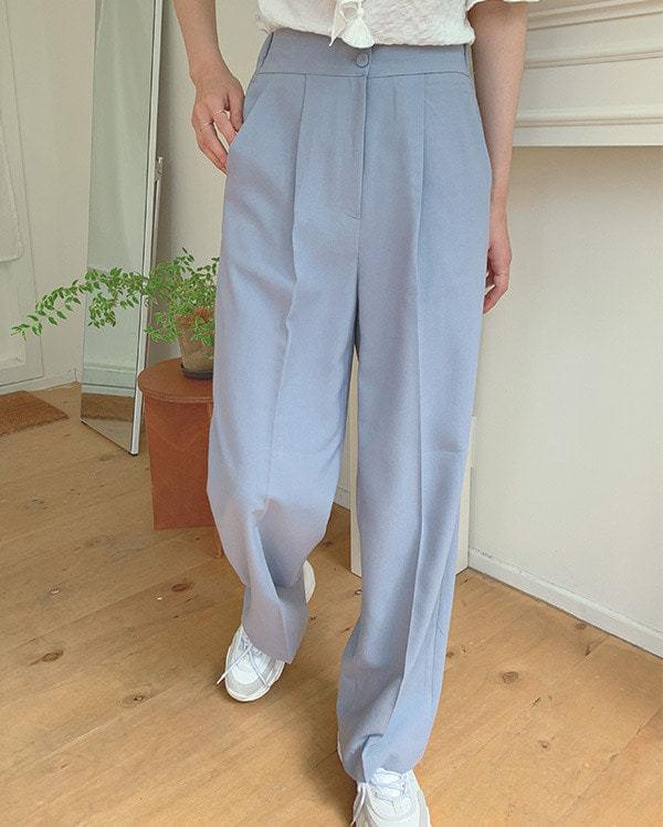 Two button linen long slacks