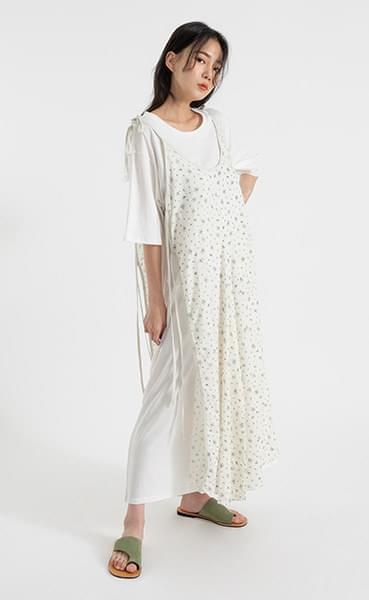 Floral strap layered maxi dress