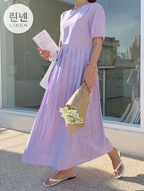 Linen semi-half pleated long dress