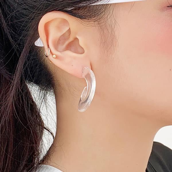 Transparent hoop earrings