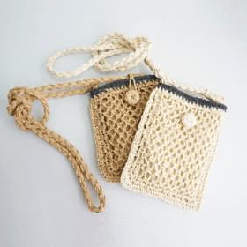 韓國空運 - Straw button mini cross bag 肩背包