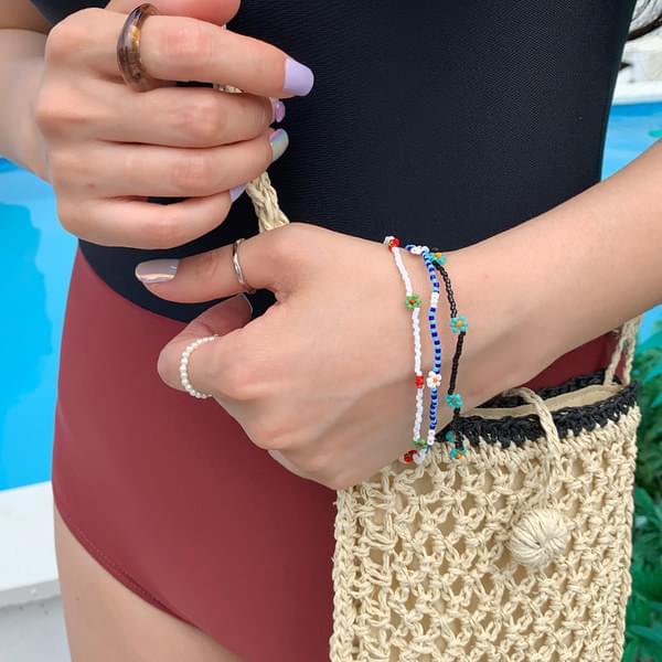 Flower Bead Bracelet & Anklet