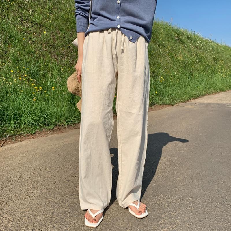 Banding linen pants black