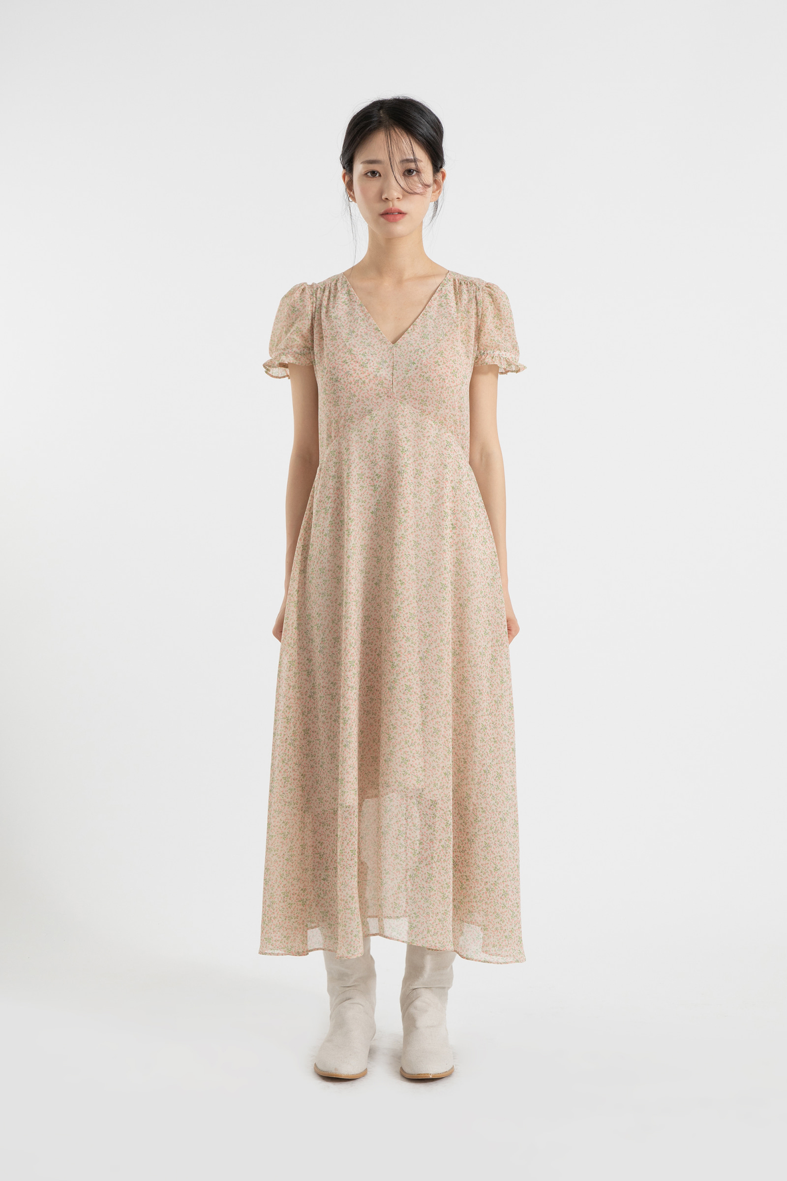 Pure floral puff maxi dress