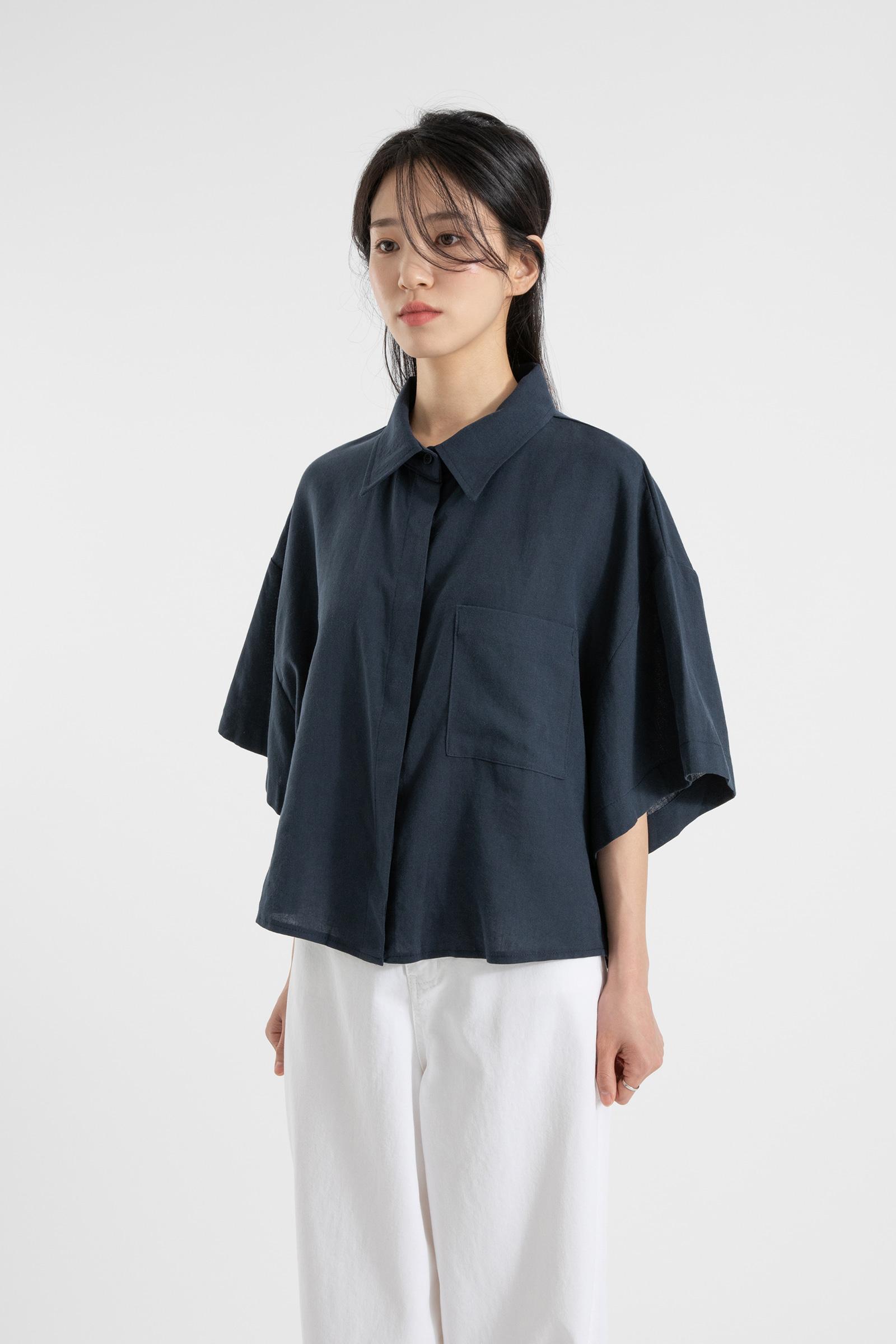 Basic Tencel Linen Half Shirt