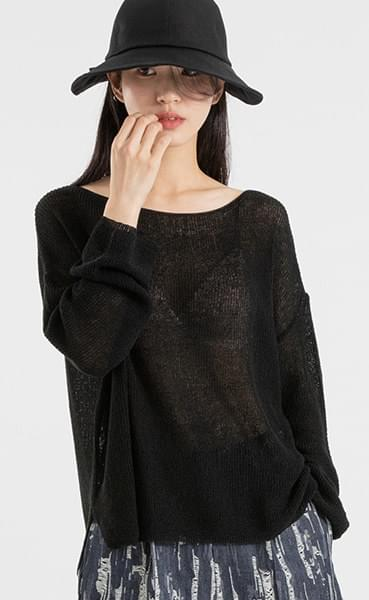 Gian see-through boat neck knit