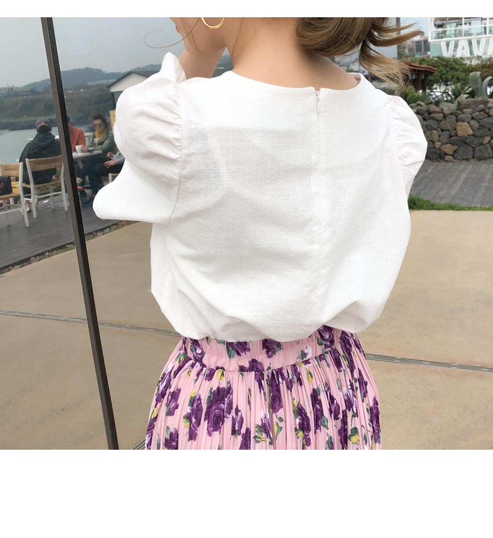 Puff linen blouse