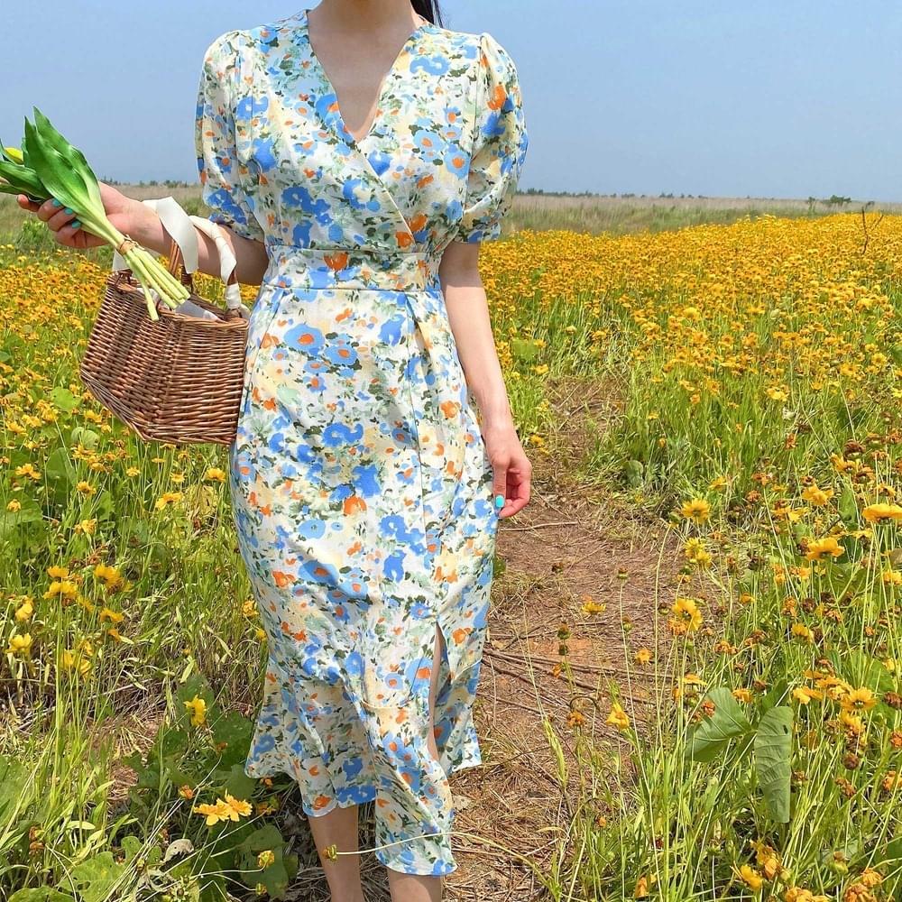 Watercolor Puff Dress