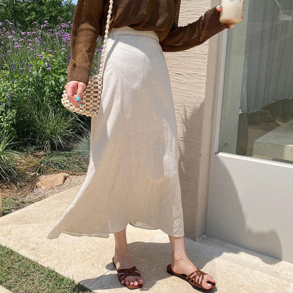 Hi-bye linen skirt