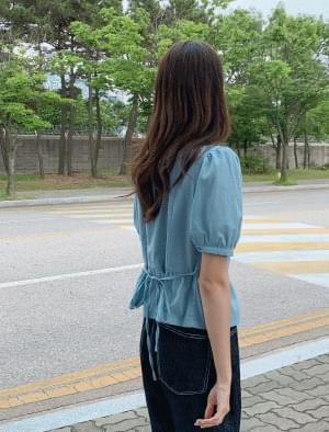 Romantic square neck frill blouse