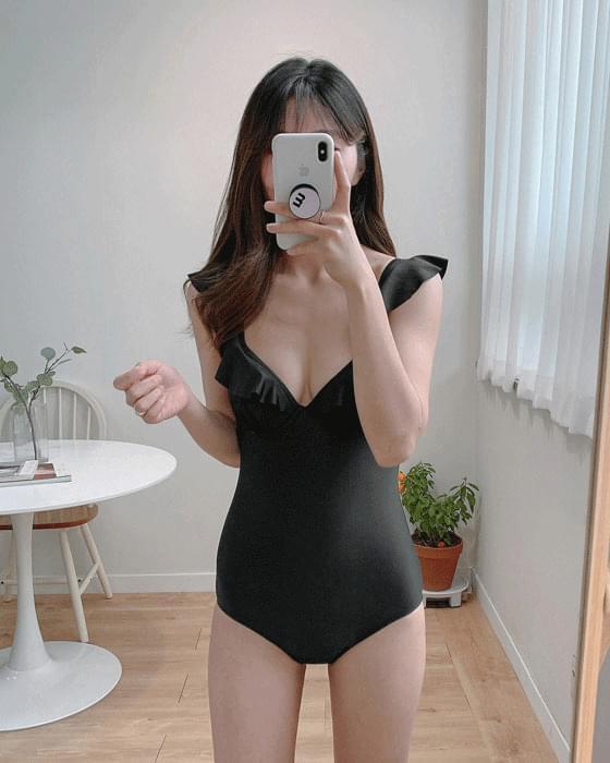 Rose frill monokini swimwear-2color 泳裝