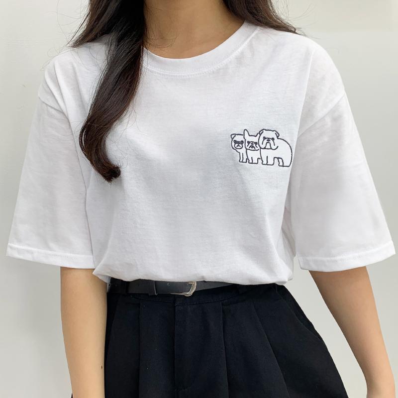 Pug Dog Embroidery Short Sleeve Tee