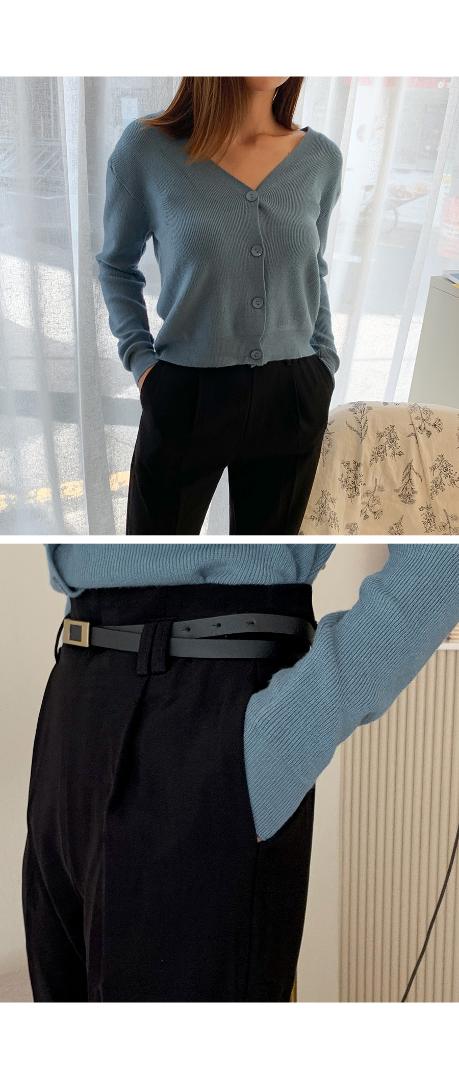 Special plan) Roll up belt wide slacks