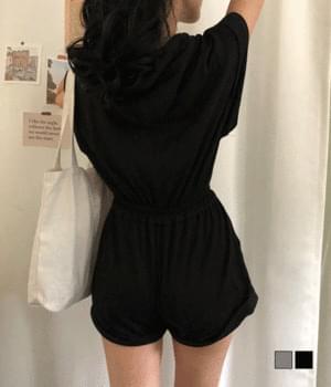 韓國空運 - Hooded zip jumpsuit 及膝洋裝