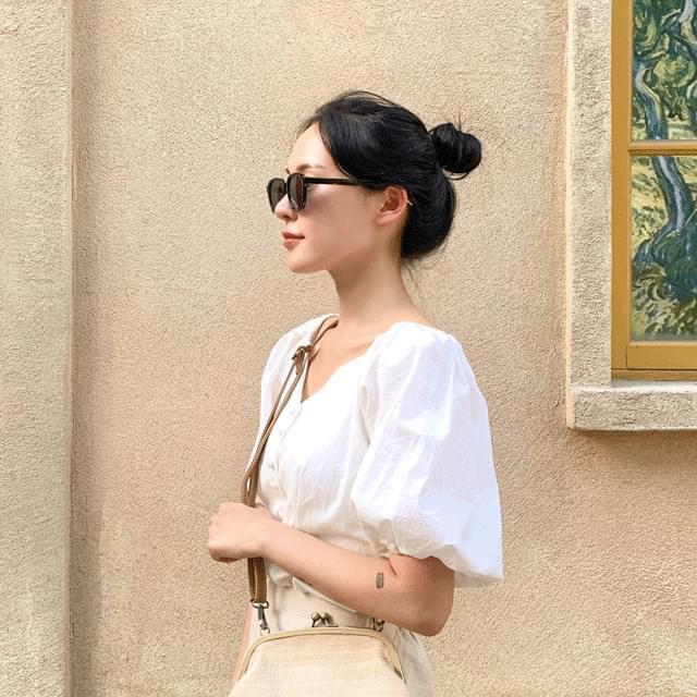 Tint transparent square round sunglasses 3color