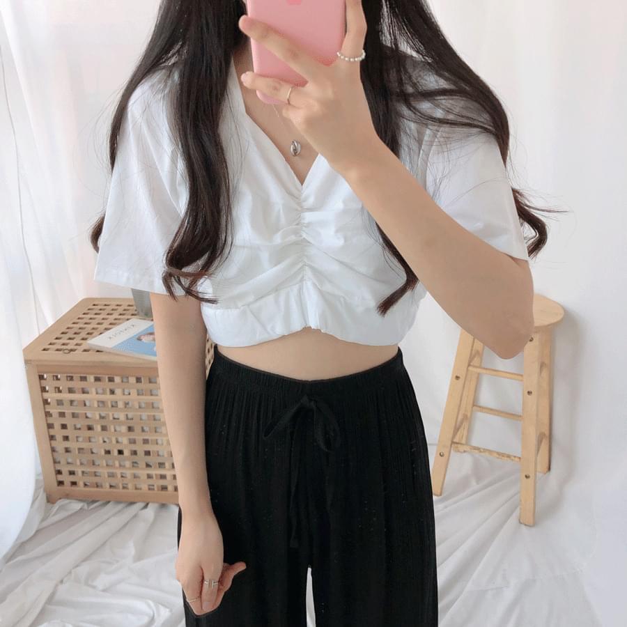 Cropped shearing V-neck short sleeve blouse