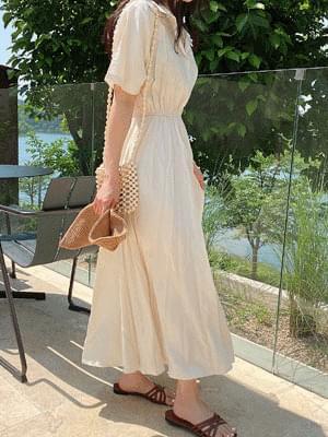 Cream Matt Color Dress