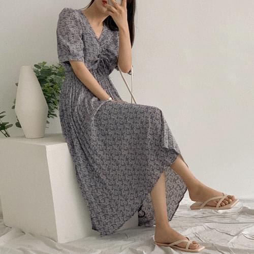 Sarovia Shirring Long Dress