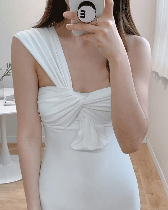 One-shoulder ribbon monokini swimwear-2color 泳裝