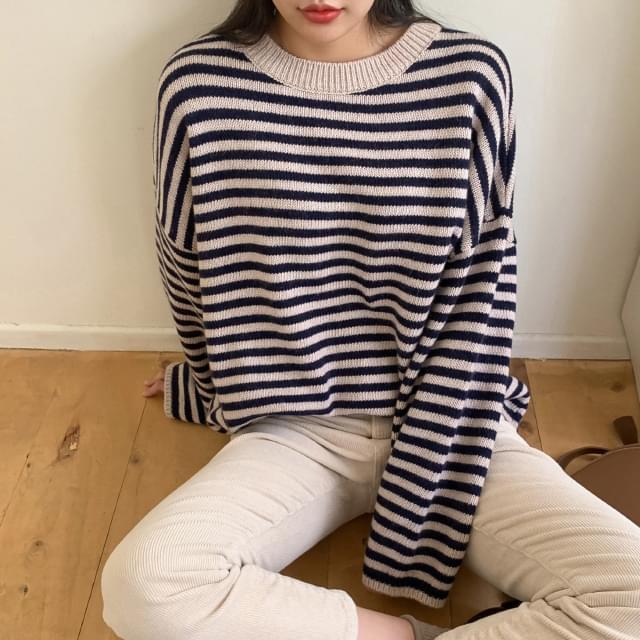 Striped loose fit wool knit