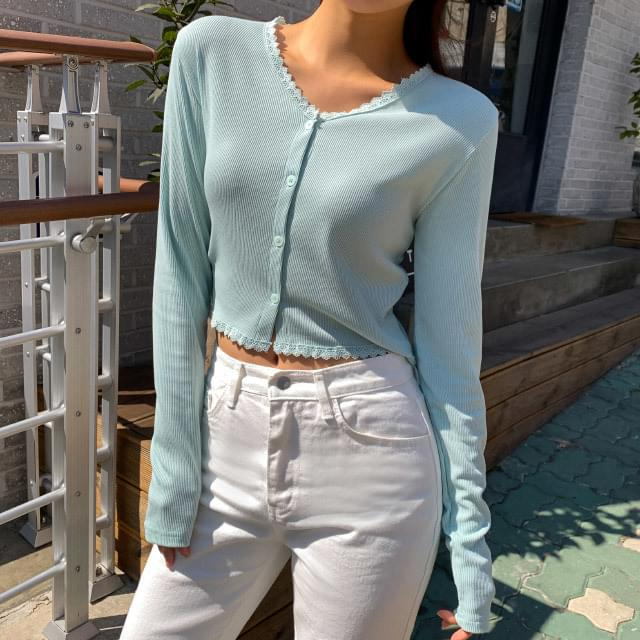 Lace ribbed cropped cardigan