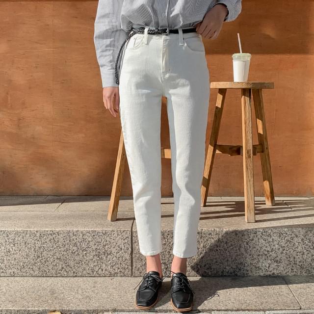 Half high waist 9 booth cotton pants