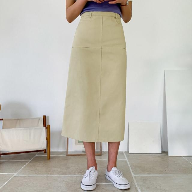 Daily A-line cotton long skirt