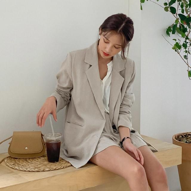 Natural Overfit Single Linen Jacket