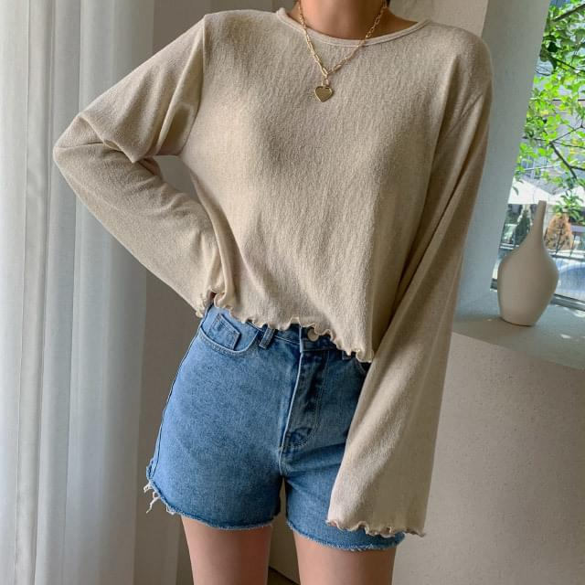 Wave Crop Summer Knit Tee