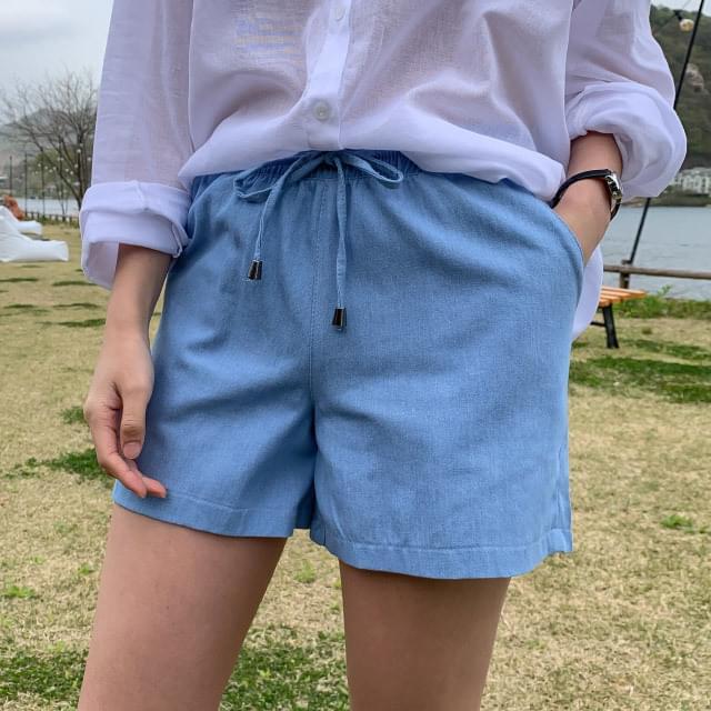 Daily banding denim short pants