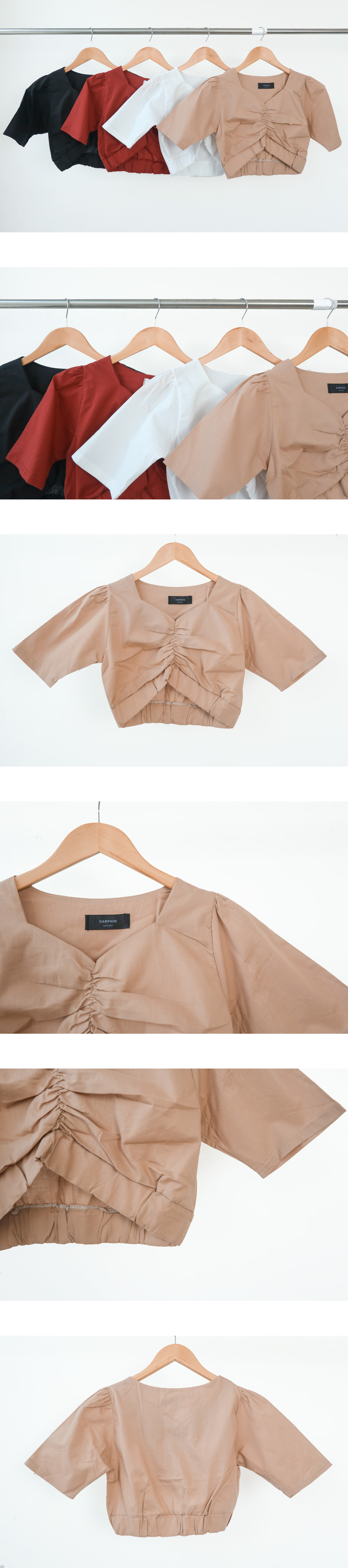 Cropped shearing V-neck short sleeve blouse