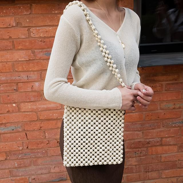 Square woodball shoulder bag
