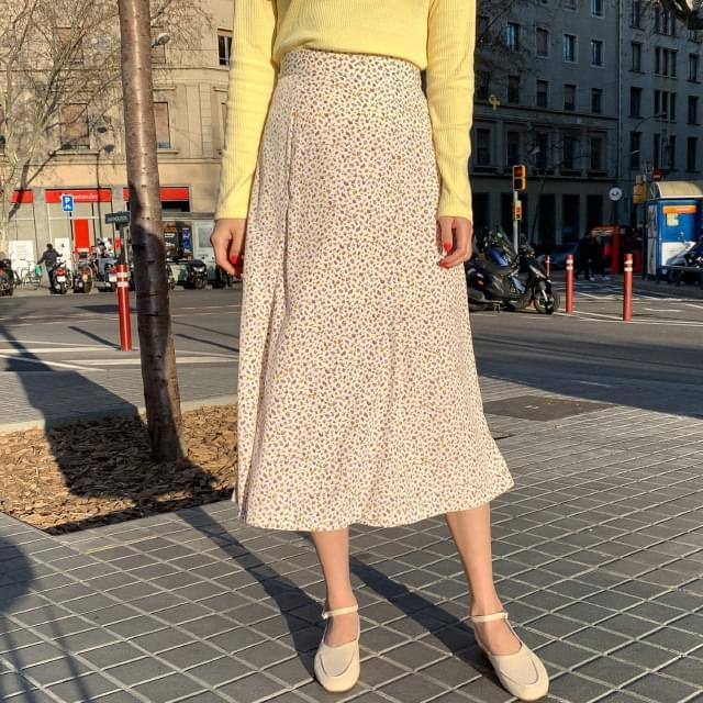 Flower A-line Bending Long Skirt
