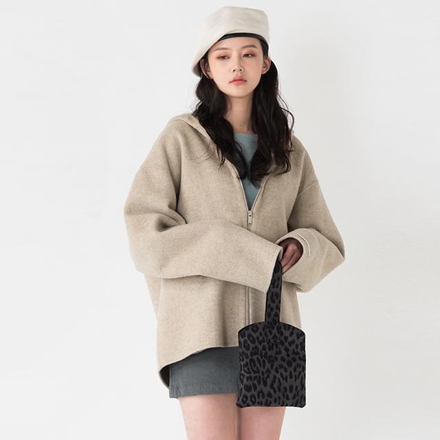 Hooded Zip Up Half Wool Coat-