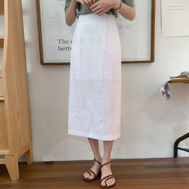 H line back banding linen skirt