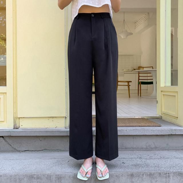 High waist wide-fit pintuck slacks
