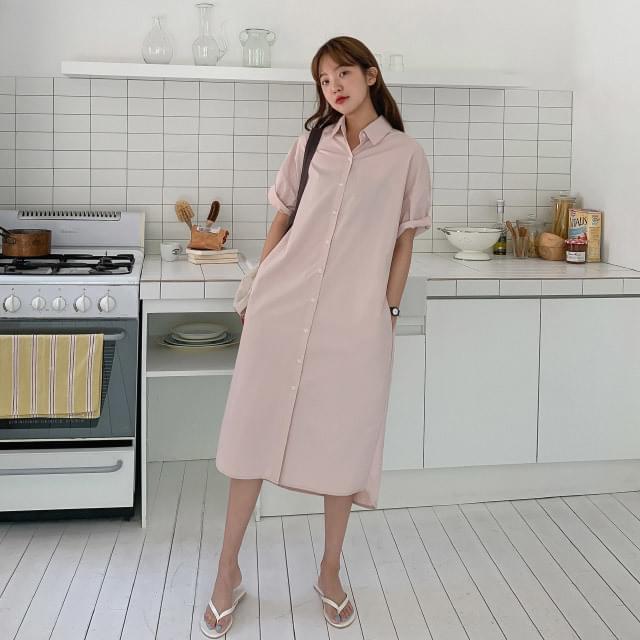 Unbalanced cotton shirt long dress