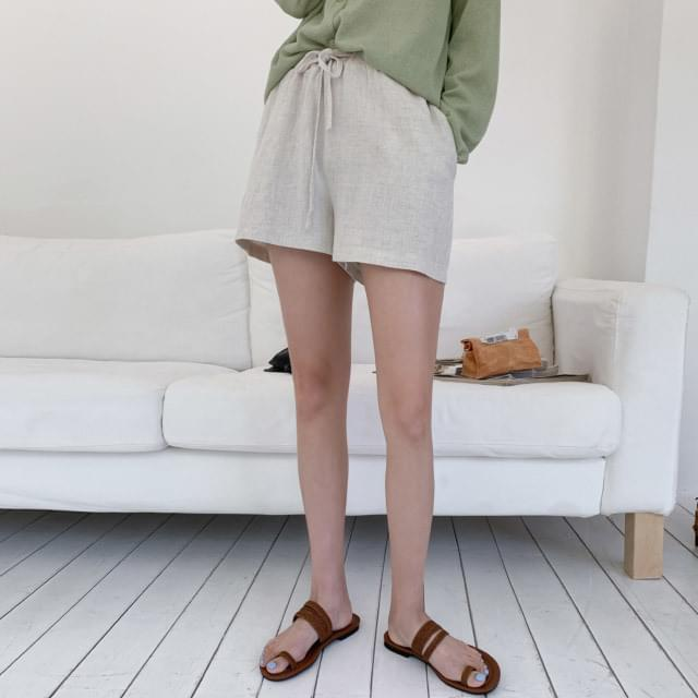 Basic high waist banding short pants