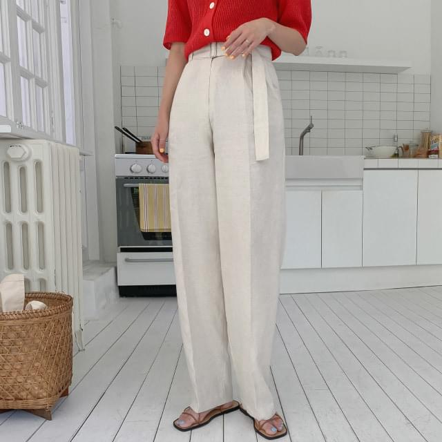Belt set wide linen maxi pants