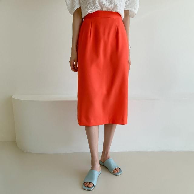 Vivid color back banding trim skirt