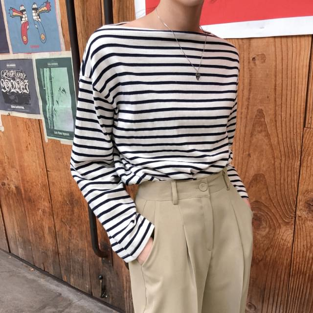 Boat Neck Striped Cotton Tee 長袖