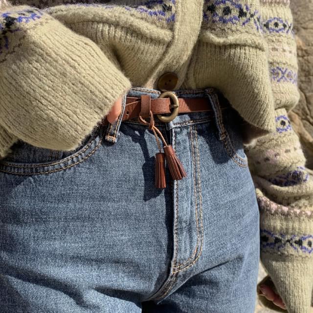 Tassel Slim Cowhide Belt