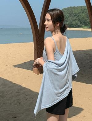 Linen sleeveless cardigan set