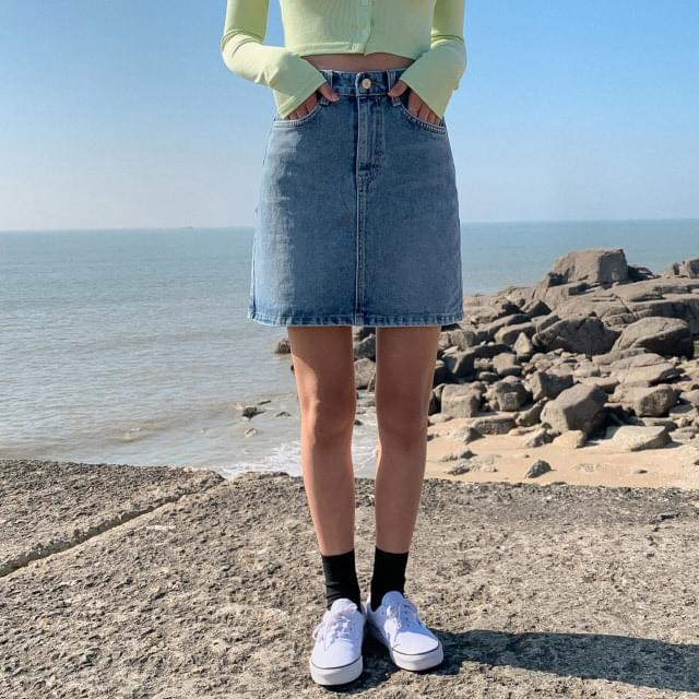 H-line high waist denim skirt