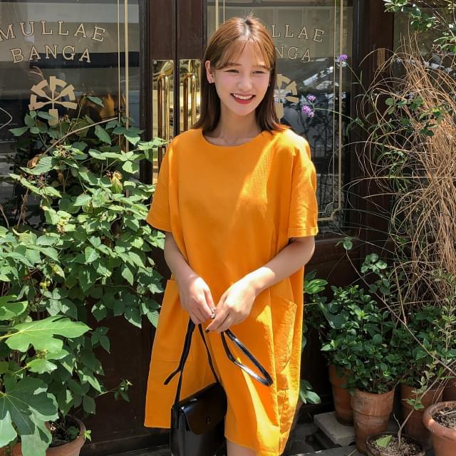 Pocket Linen Mini Dress