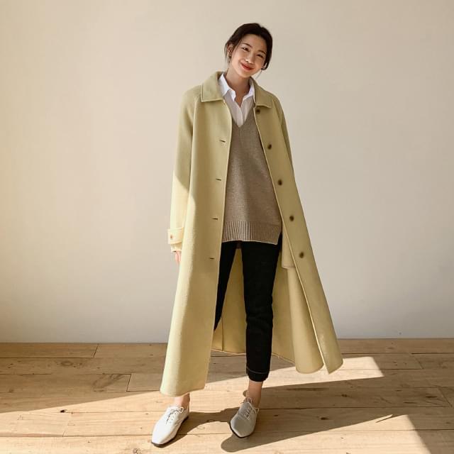 Natural Loose Fit Wool Coat-