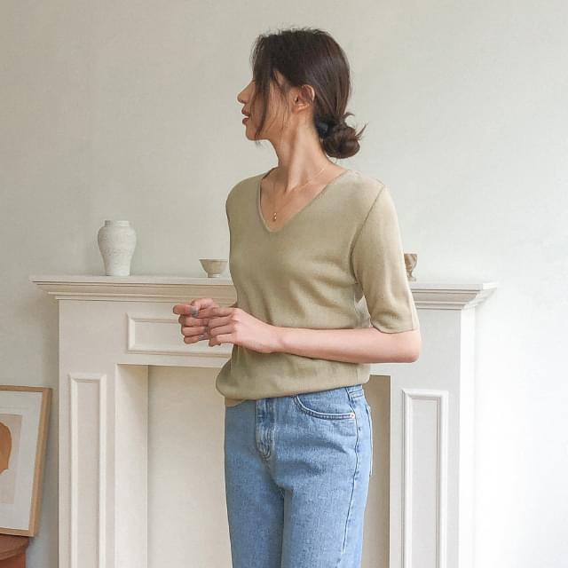 Daily V Neck Short Sleeve Knit