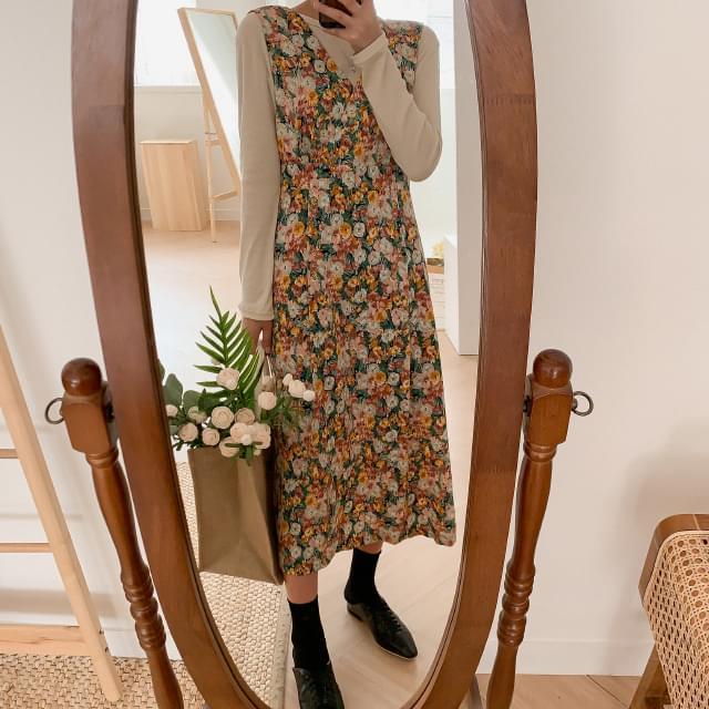 Deep V Neck Flower Long Dress