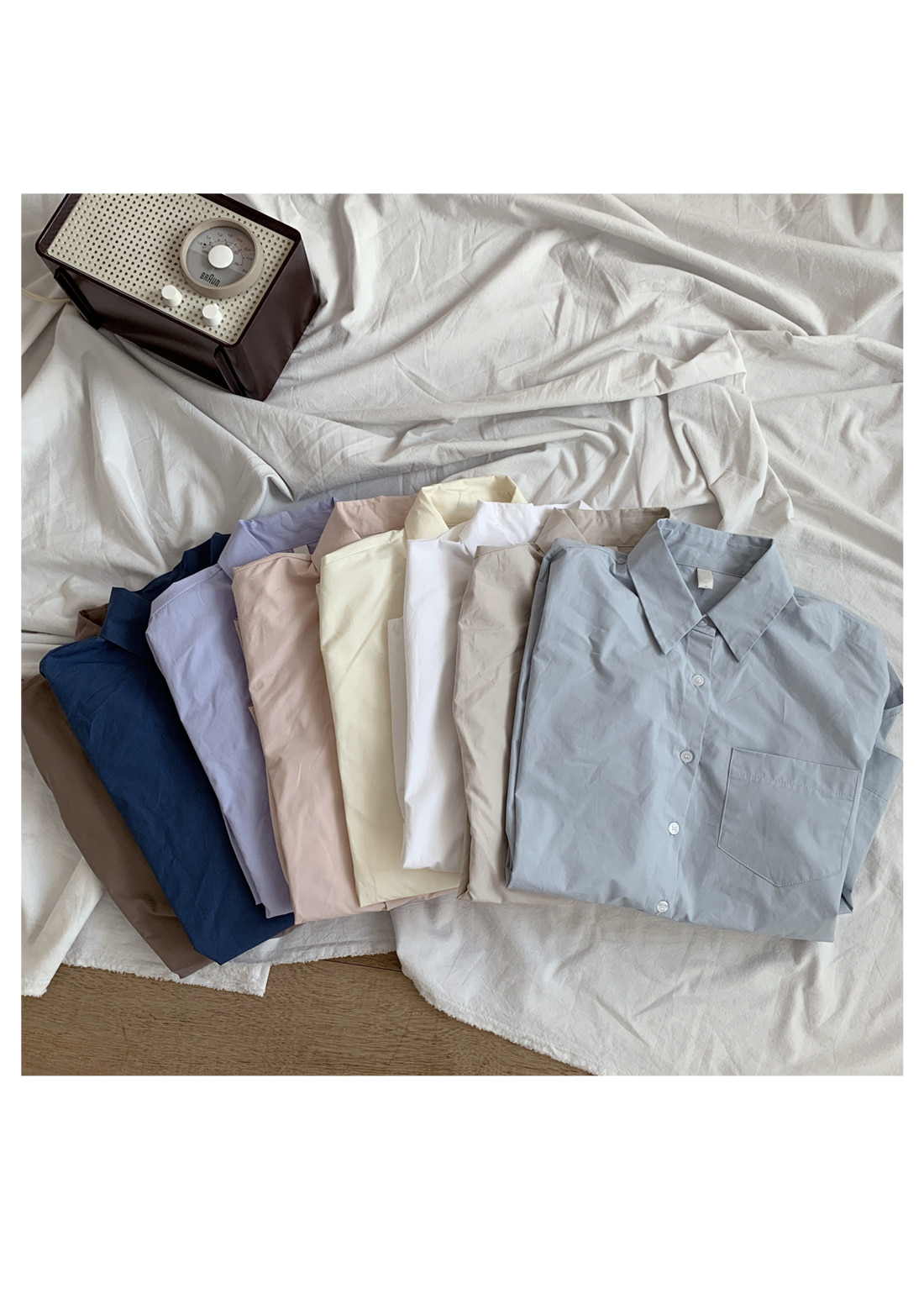 Guilloche basic cotton shirt
